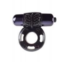Чёрное эрекционное кольцо Vibrating Super Ring