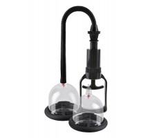 Вакуумная помпа и 2 чаши для сосков Deluxe Vibrating Nipple Pleasure Cups с вибрацией